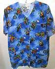 Peaches Uniforms Frogs Motorcycle Blue Medical Scrubs Shirt Top M