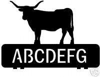 custom TEXAS LONGHORN COW metal mailbox topper sign art