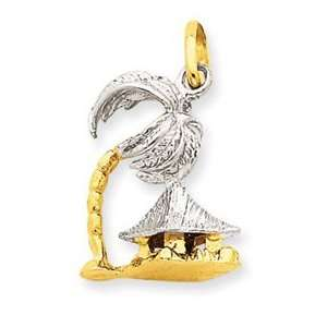 14k Two tone Gold 3 D Palm Tree & Hut Pendant Jewelry