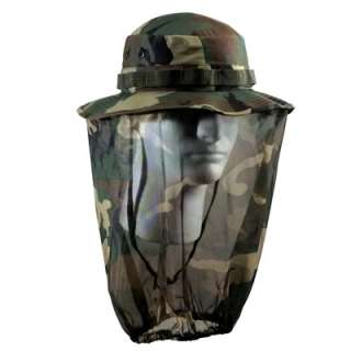 WOODLAND CAMO BOONIE HAT WITH CAMO MOSQUITO NETTING