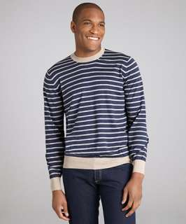 Brunello Cucinelli blue striped cotton long sleeve crewneck sweater