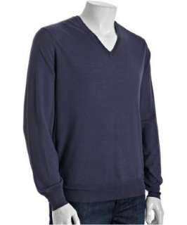 Brunello Cucinelli purple wool silk v neck sweater