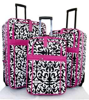 3Piece Luggage Set Travel Bag Rolling Wheel Floral Pink