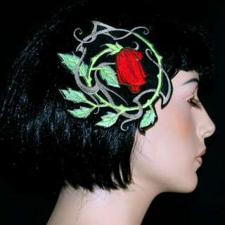 Tattoo Rose Vines Rockabilly Retro Embroidery Headband