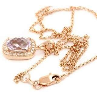 14K ROSE GOLD PINK AMETHYST & DIAMONDS PENDANT NECKLACE