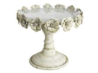 Shabby Chic Vintage French Antique Ivory Roses Cake Stand Iron and
