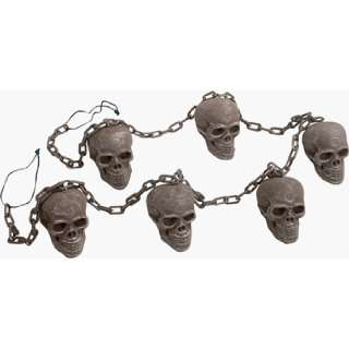 Scary Skulls On A Chain Halloween Decoration: Patio, Lawn