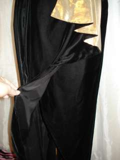 Black Velvet & Gold Lame Strapless Roberta Sarong Dress Gown